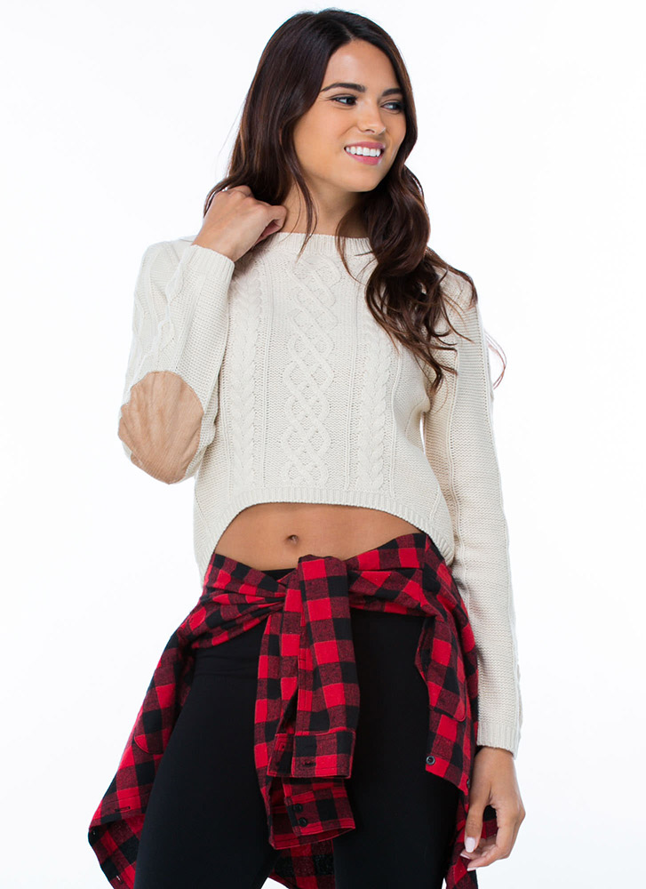 Cable Knit Effect Cropped Sweater