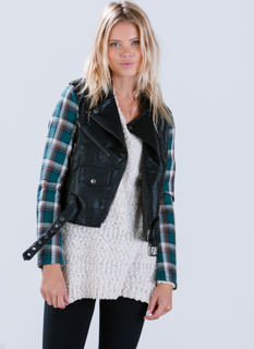 Plaid Chic Biker Jacket