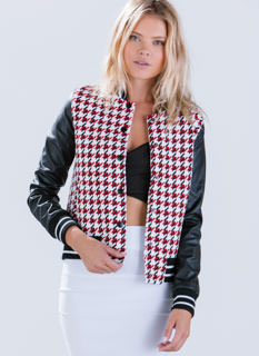 Houndstooth 'N Faux Leather Bomber