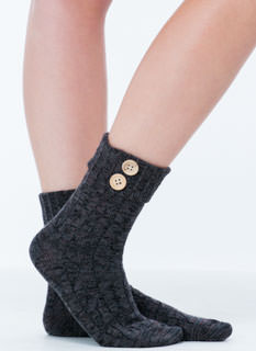 Press Your Buttons Cuffed Crew Socks