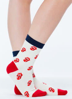 Tongue In Chic Lip Print Crew Socks