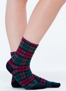 Stark Raving Plaid Knit Crew Socks
