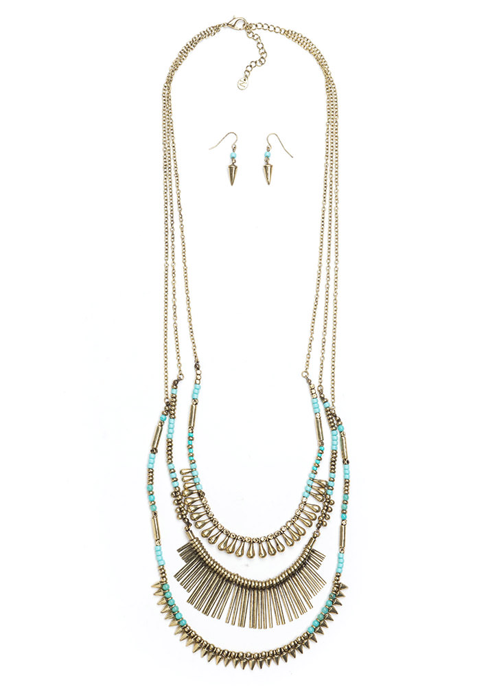 Tri-Bal Layered Necklace Set