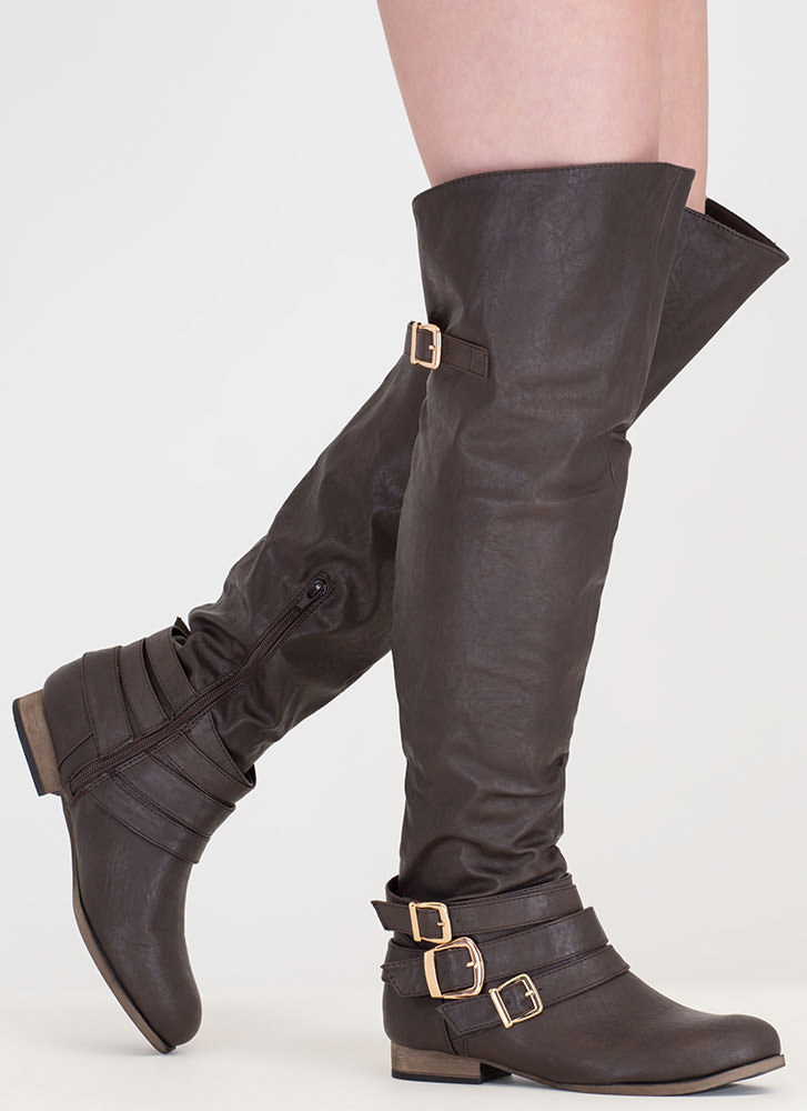 Buckled Babe Knee-High Boots