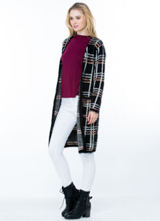 Plaid To Meet You Fuzzy Knit Duster