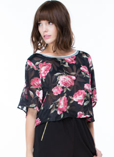 Rose Above Contrast Trim Crop Top