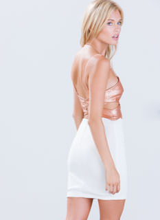X Appeal Crackled Top Cut-Out Dress