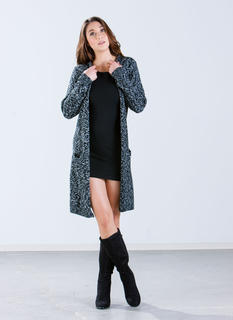 Long Marled Knit Cardigan
