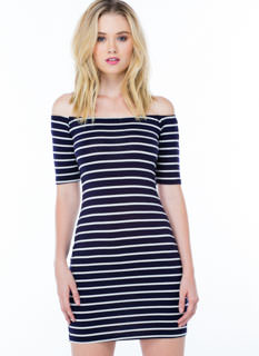 Line Up Striped Off-Shoulder Dress