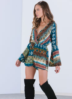 Ring My Bell Sleeve Tribal Romper