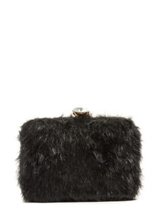Shag Along Faux Fur Box Clutch
