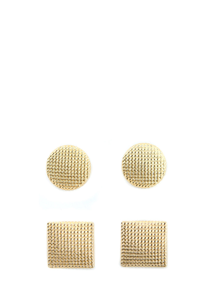 Shape Things Up Textured Earring Set
