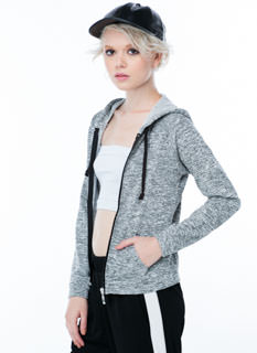 Wake Me Up Marled Zip-Up Hoodie