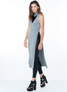 Split Rib Knit Mockneck Dress