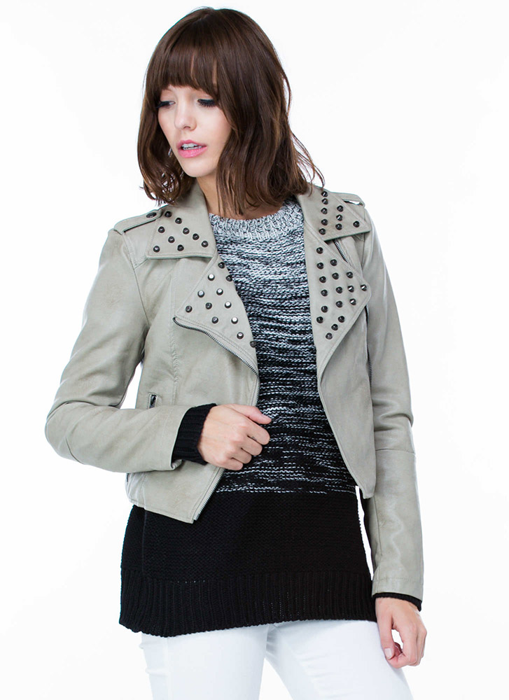 Stud City Moto Faux Leather Jacket