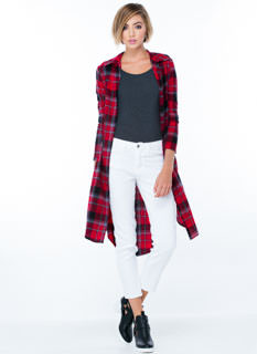 In A Plaid Mood Slit Flannel Duster