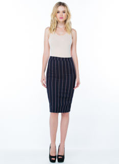 New Line-Up Pinstripe Pencil Skirt
