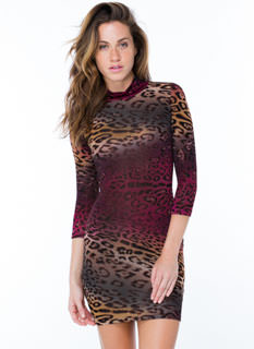 Lean Leopard Print Bodycon Dress