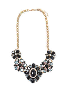 Floral Fixation Jeweled Bib Necklace