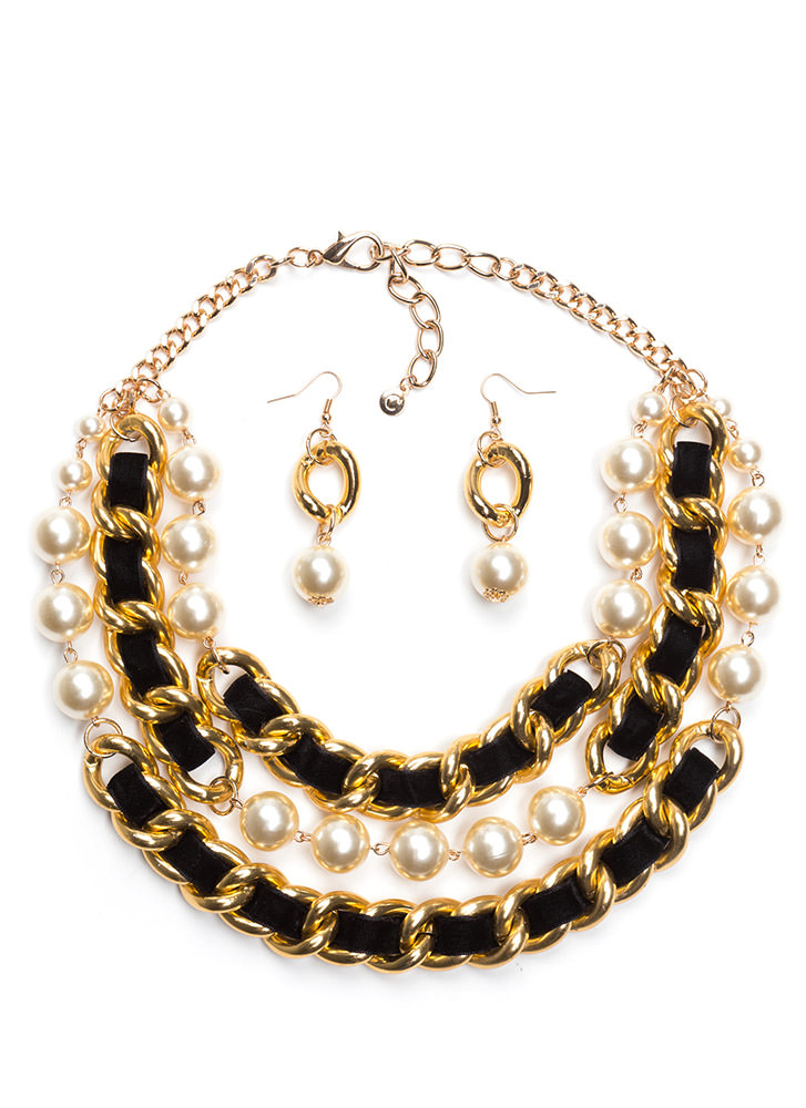Pearls 'N Chains Necklace Set