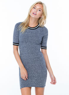 On Stripe Marled Knit Bodycon Dress