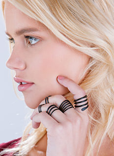Coiled And Cut-Out Coated Ring Set