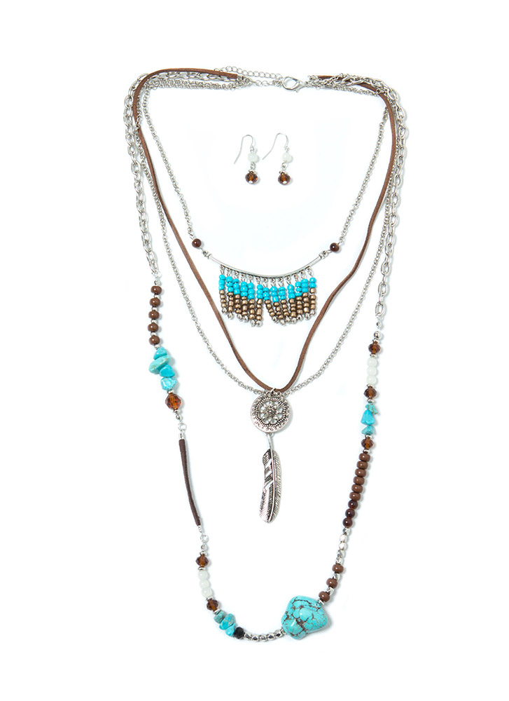 Stoned And Feathered Necklace Set