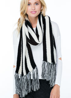 Stripe Up A Friendship Fringe Scarf