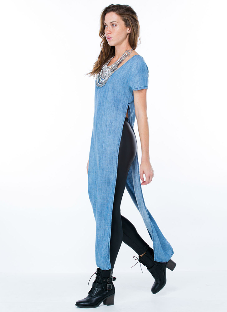 Get Your Slit Together Chambray Maxi