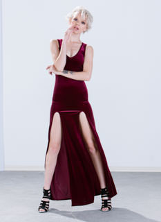 All Elegance Velvet Double Slit Maxi