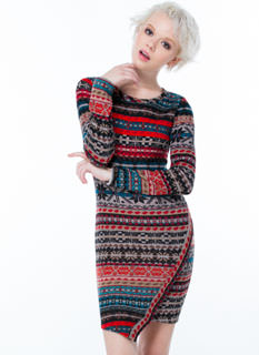 Fair Isle Asymmetrical Sweater Dress