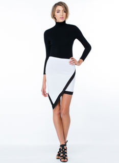 Asymmetry Lesson Contrast Trim Skirt