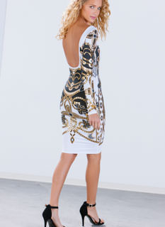 Mirror Mirror Foil Print Bodycon Dress