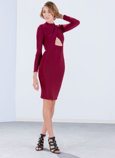 What's My Cut Mockneck Midi Dress