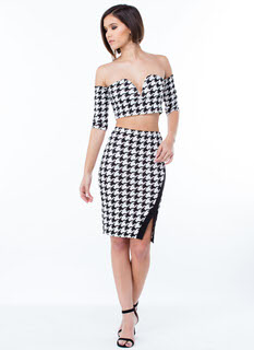 Pixel Perfect Houndstooth Slit Skirt