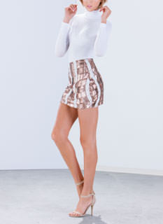 Glitzy Waves Sequin Mini Skirt