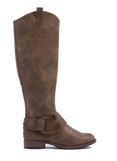 Horseshoe Around Faux Leather Boots
