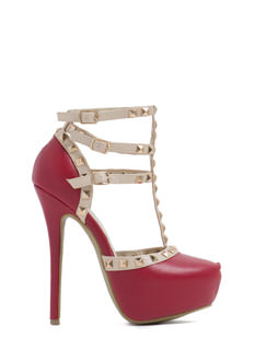 Square Off Strappy Studded Platforms