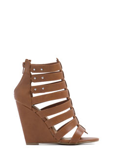 Push On Strappy Laddered Wedges