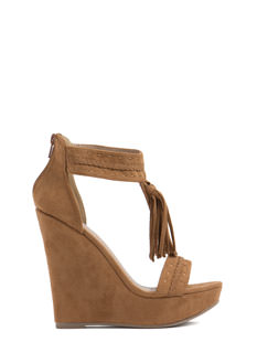 Tassel Up Fringed Faux Suede Wedges