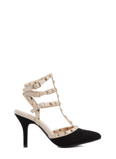 Square-Studded Affair Caged Heels