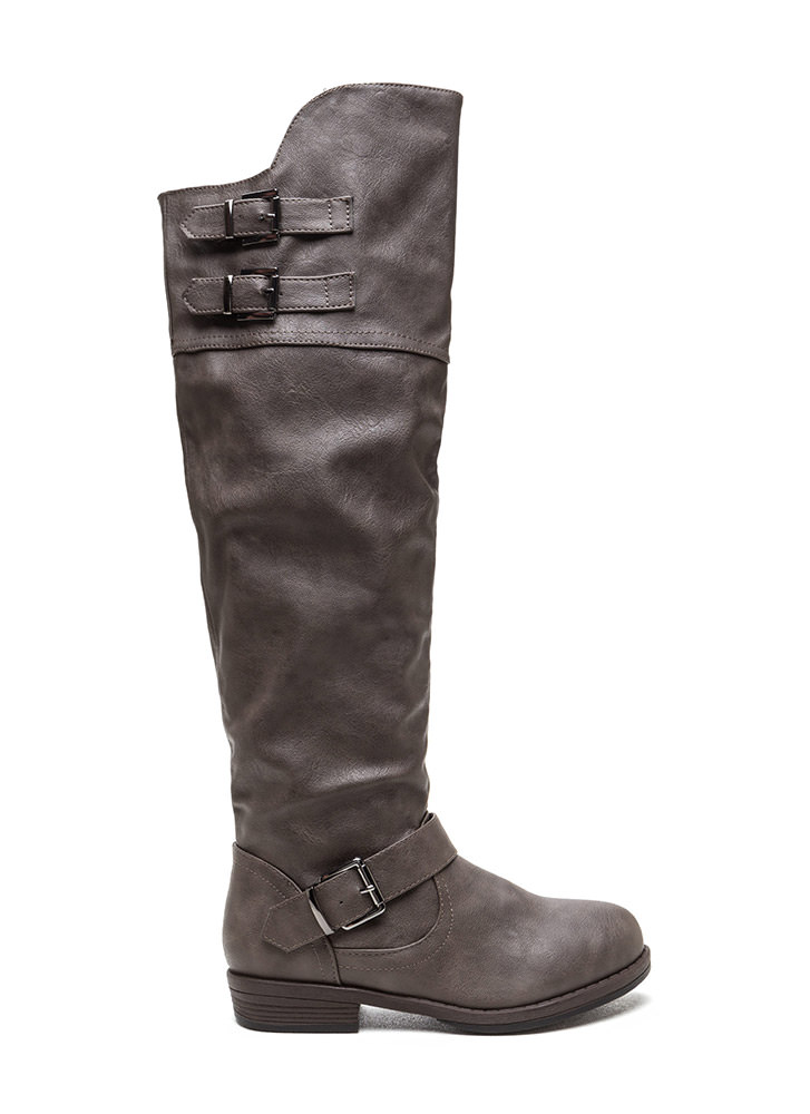 Buckle Triplet Faux Leather Boots