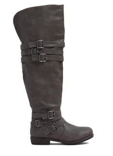 Buckle Bonanza Faux Leather Boots
