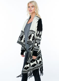 Tribal Triangles Fringed Cardigan