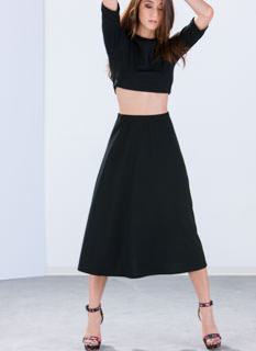 Jagged Textured Midi Skirt