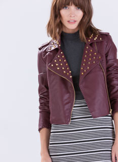 Stud Finder Faux Leather Moto Jacket