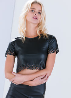 Agree To Filigree Laser Cut Crop Top