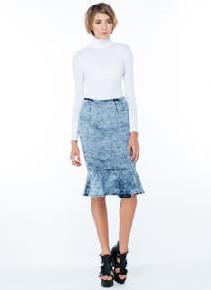 So Rad Acid Wash Trumpet Skirt