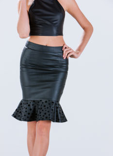 Faux Leather Polka Dot Trumpet Skirt