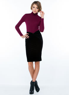 Bow Down Velvet Pencil Skirt